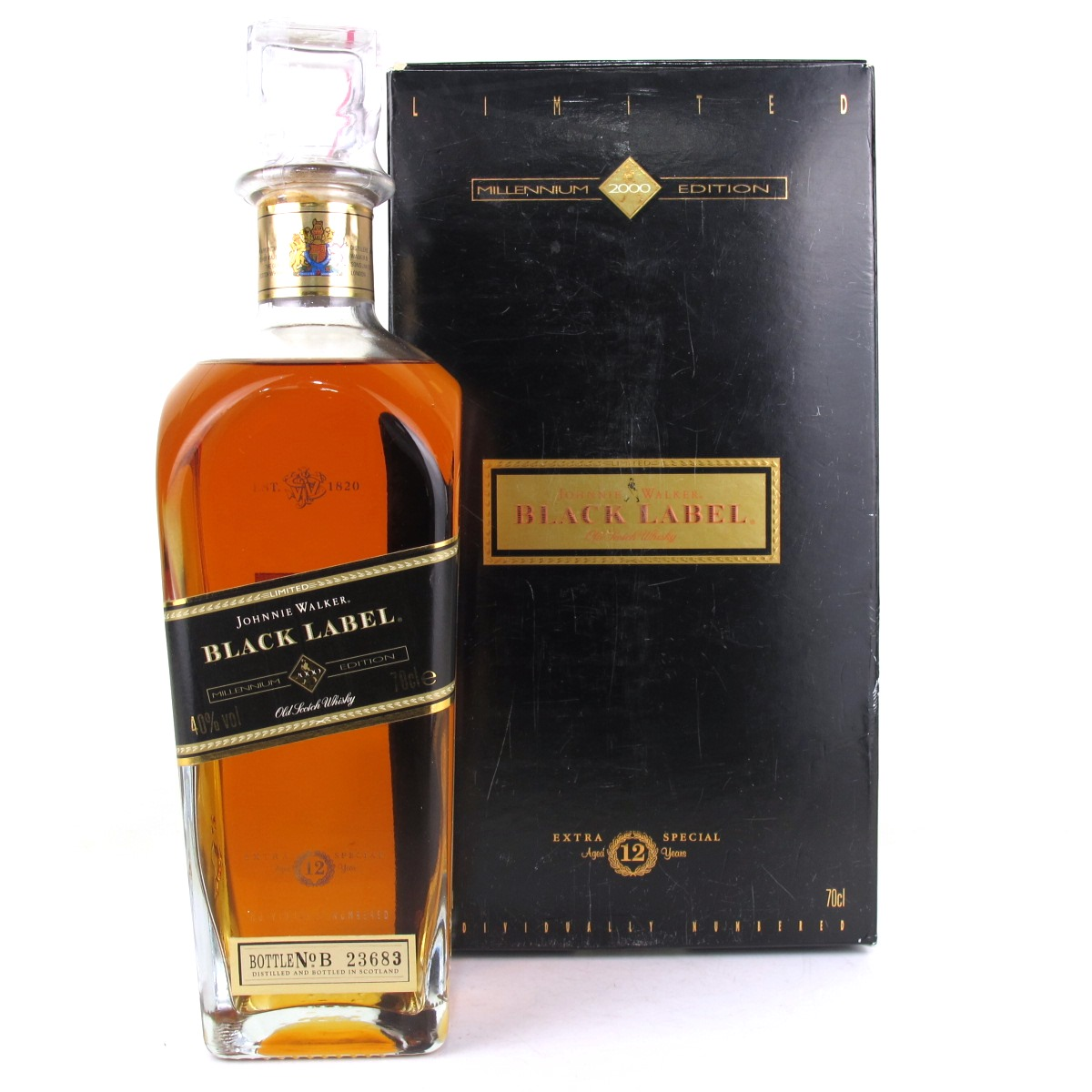 johnnie walker black label millennium edition whisky auctioneer scotch whisky auctions. Black Bedroom Furniture Sets. Home Design Ideas