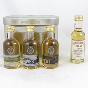 Bruichladdich Gift Pack and Old Style 10 Year Old Minatures 4 x 5cl Front