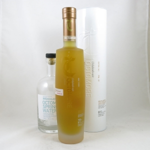 Bruichladdich Octomore Comus 4.2 and Octomore Spring Water (Bottle) front