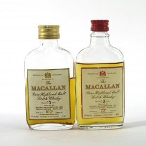 Macallan 10 Year Old 70 and 100 Proof Miniatures 2 x 4cl