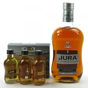 Jura Superstition 70cl and Gift Pack 3 x 5cl