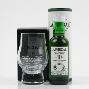 Laphroaig 10 Year Old Miniature 5cl and Glass