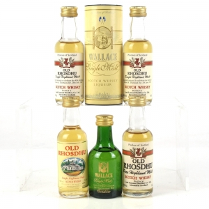 Miscellaneous Old Rhosdhu & Wallace Whisky Liqueur Miniatures 5 x 5cl