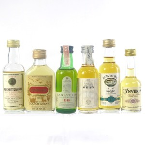 West Coast Malt Miniature Selection x 6 / Including Lagavulin 16 Year Old White Horse