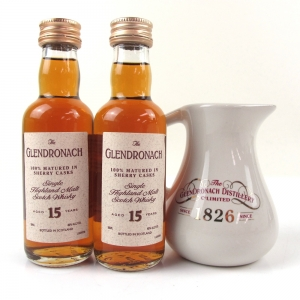 Glendronach 15 Year Old Miniatures 2 x 5cl and Water Jug