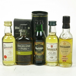 Miscellaneous Single Malt Miniatures 5 x 5cl / Including Highland Park 15 Year Old