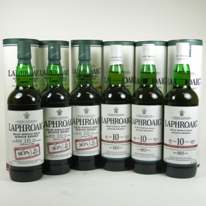 Laphroaig 10 Year Old Cask Strength Batch 2 to Batch 7 6 x 70cl Front