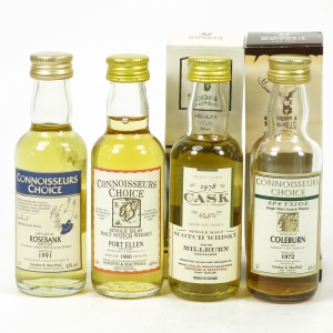 Closed Distillery Minitures incliding Port Ellen / Rosebank 4 x 5cl
