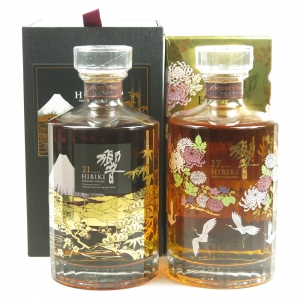 Hibiki 21 Year Old Mount Fuji Second Edition and 17 Year Old Kacho Fugetsu Edition Front