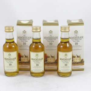 Macallan 10 Year Old (Old Style) Miniatures 5cl x 3 Front