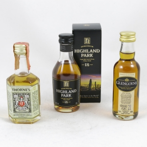 Highland Park 18 Year Old, Glengoyne 21 Year Old and Thornes 12 Year Old Miniatures 3 x 5cl Front