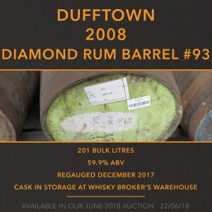 1 Dufftown 2008 Diamond Rum Barrel #93 / Cask in storage at Whisky Broker