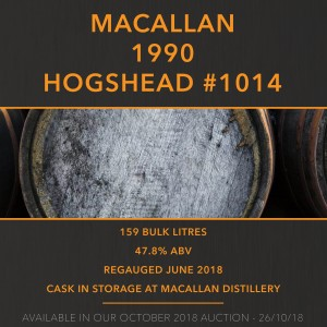 1 Macallan 1990 Hogshead #1014 / Cask in storage at Macallan