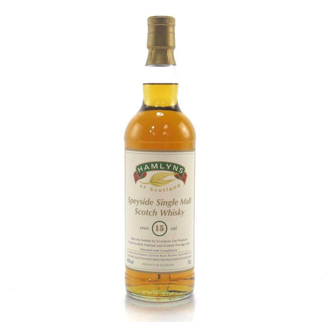 Hamlyns 15 Year Old Speyside Single Malt Grampian Oat Products