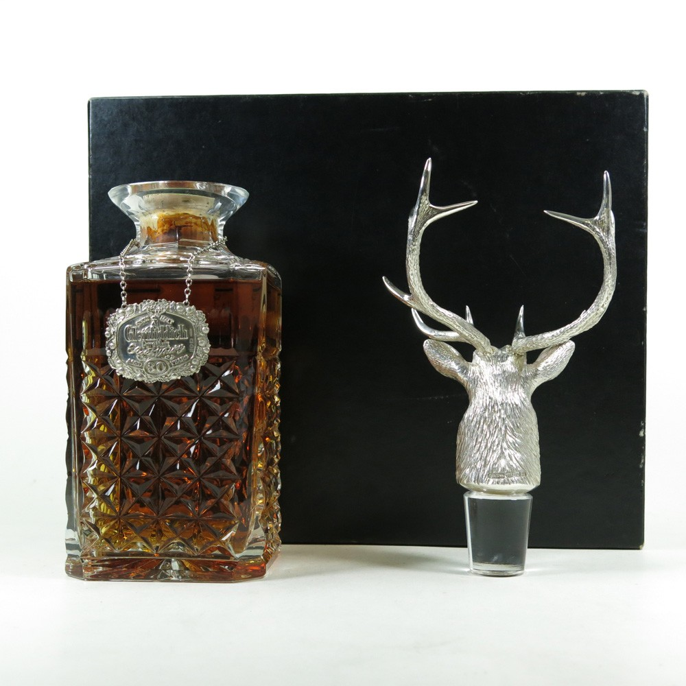 Glenfiddich 30 Year Old Silver Stag's Head Decanter   Whisky Auctioneer